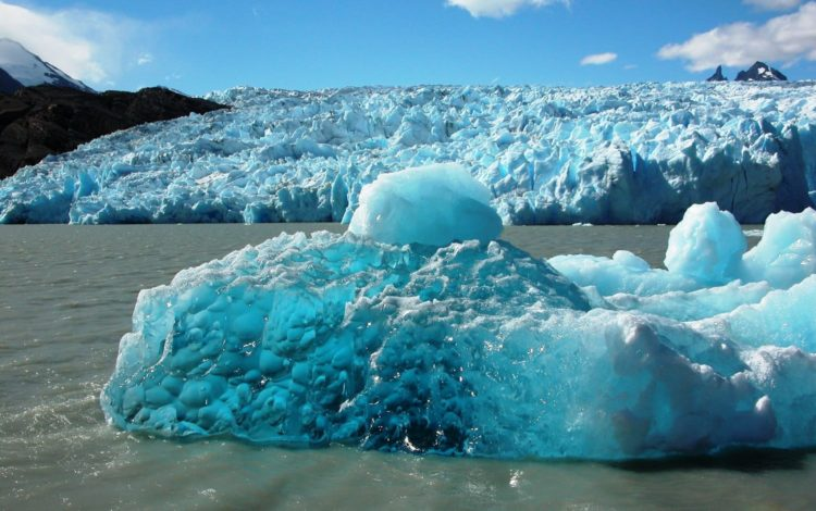 Glistening blue ice floes at Grey Glacier, Patagonia, Chile