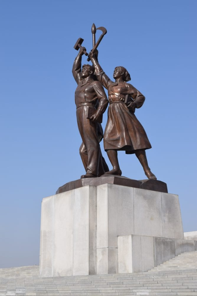 A statue at the Juce Tower Pyongyang