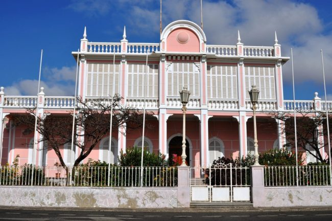 Pastel pink colonial building at Mindelo Sao Vicente Cape Verde