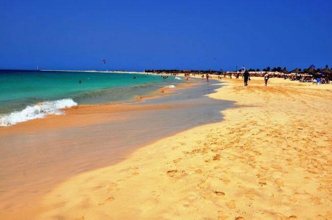 The beautiful golden beach on Sal Cape Verde