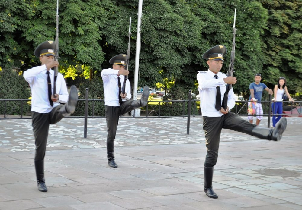Goose stepping soldiers in Bishkek