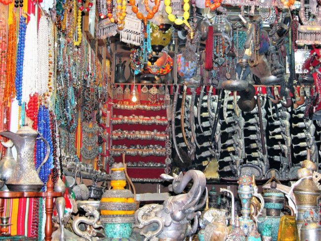 Jewellery and ornaments displayed in the souk at Muscat, Oman