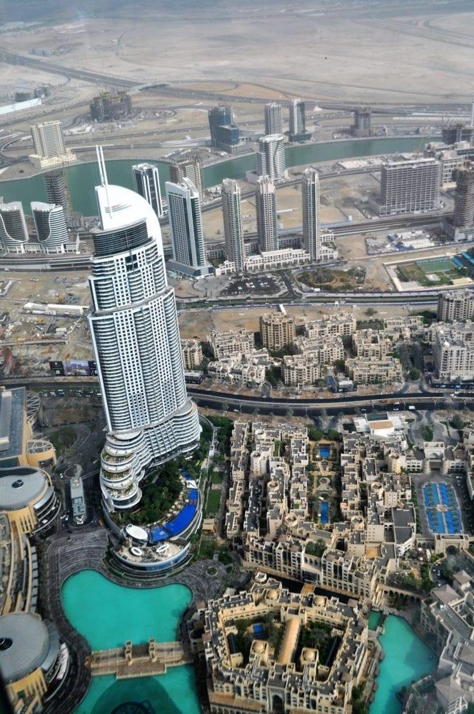 The Dubai Mall Tower seen from the Burj Khalifa