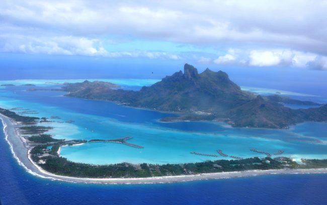 Bora Bora Island and the reef seen from the air