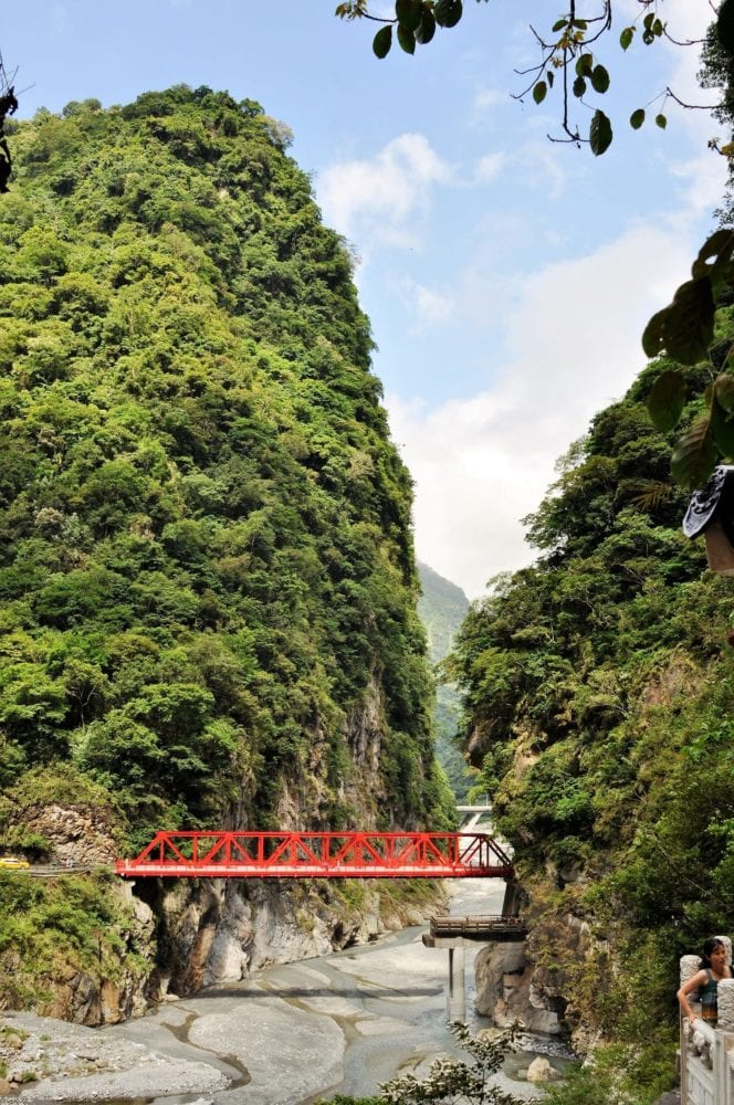 A red bridge across Taroko Gorge Taiwan
