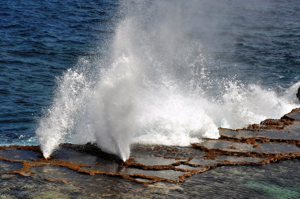 Water spurts out of blowholes in Tonga