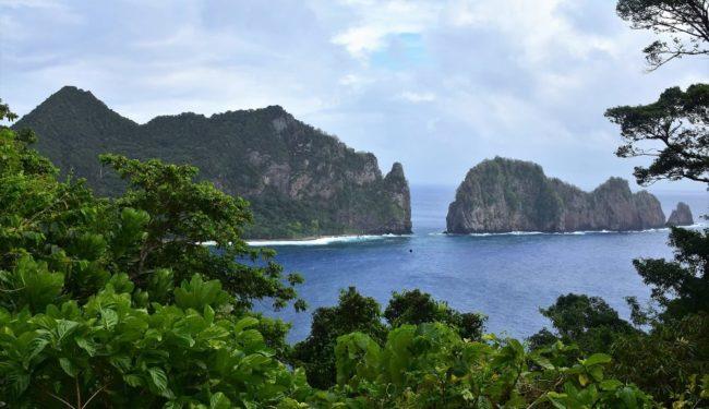 Pola Island - Beautiful jagged rock formations in the sea at American Samoa