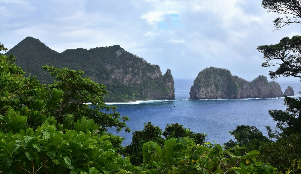 Pola Island - Beautiful jagged rock formations in the sea at American Samoa