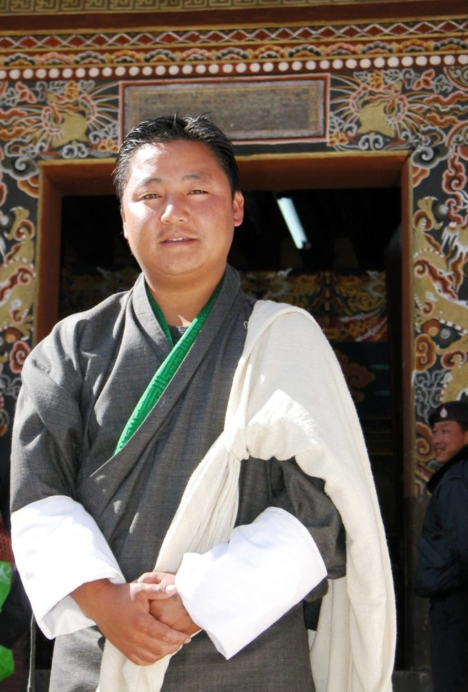 My Bhutanese guide in traditional robes