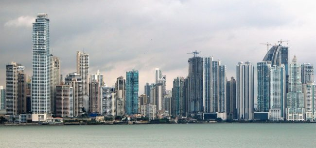 Skyscrapers lining the bay at Panama City