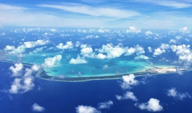 Fijian islands and reef from the air