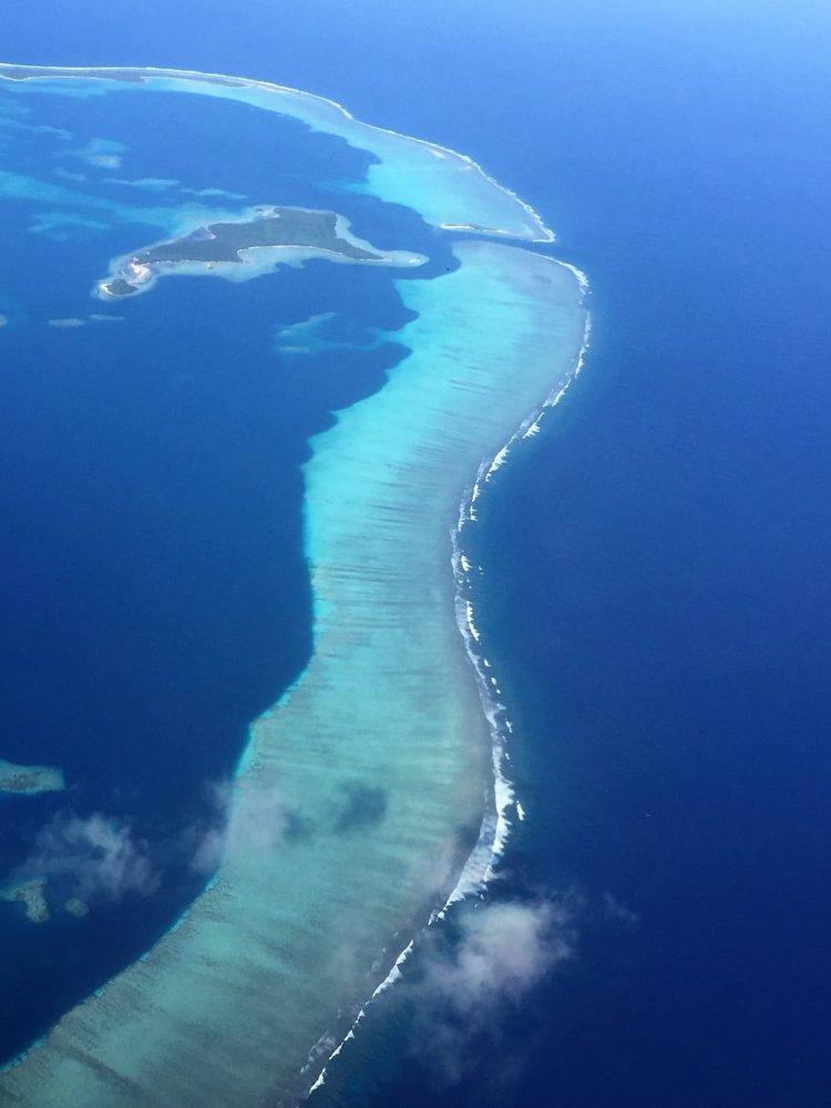 The reef surrounding Wallis island from the air