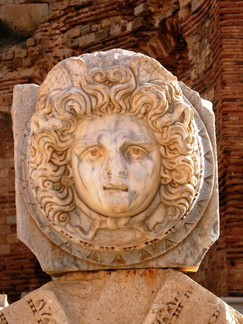 Close up of the carved head of Medusa, Leptis Magna