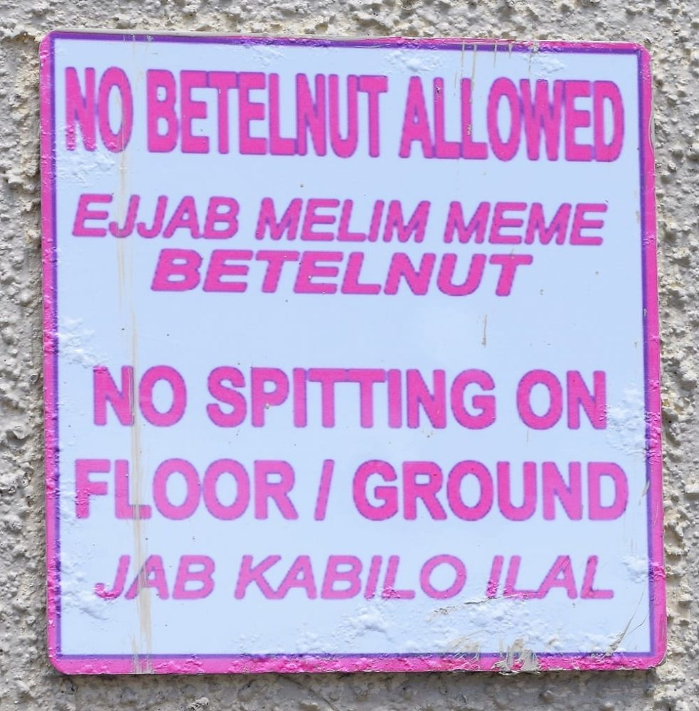 Sign forbidding the spitting of betel nut in the Marshall Islands
