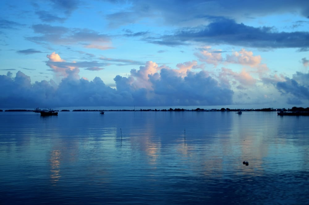 Sunset reflected on the lagoon at Majuro