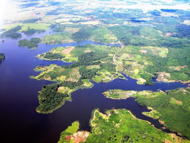 Lakes and the Llanos seen from the air, Venezuela