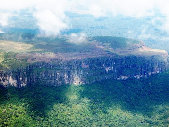 Rainforest surrounded tepuis seen from the air, Venezuela