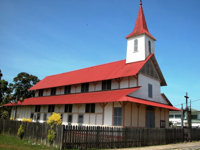 A red roofed church at Cayenne