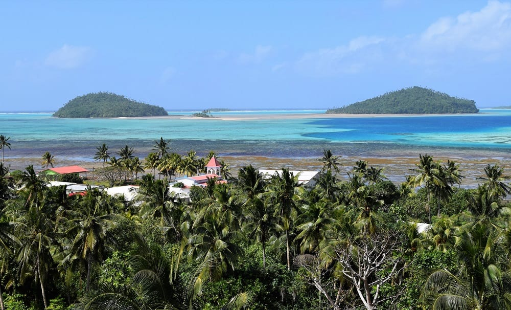 The beautiful view from my hotel window- the turquoise lagoon and two isalnds