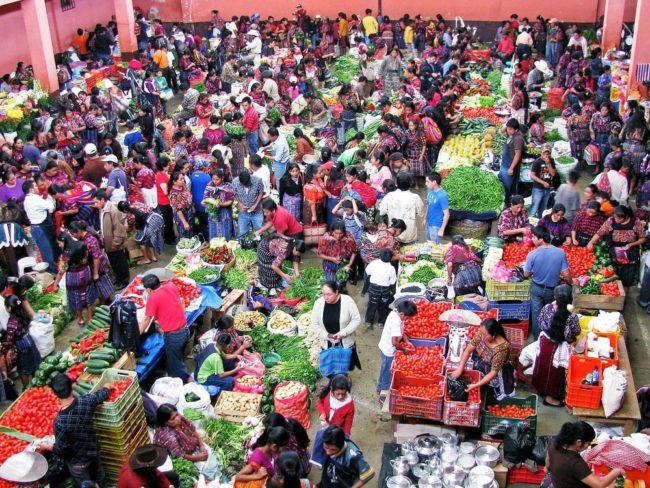 An overhead view of the indoor vegetable market at Chichicastenango