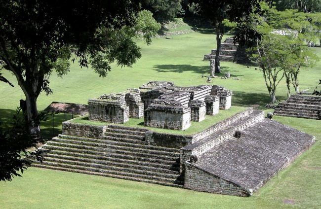A view of the ball court at Copan
