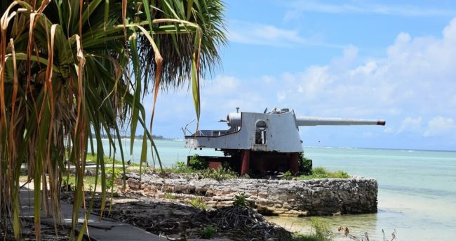 A Japanese gun on a mount in South Tarawa