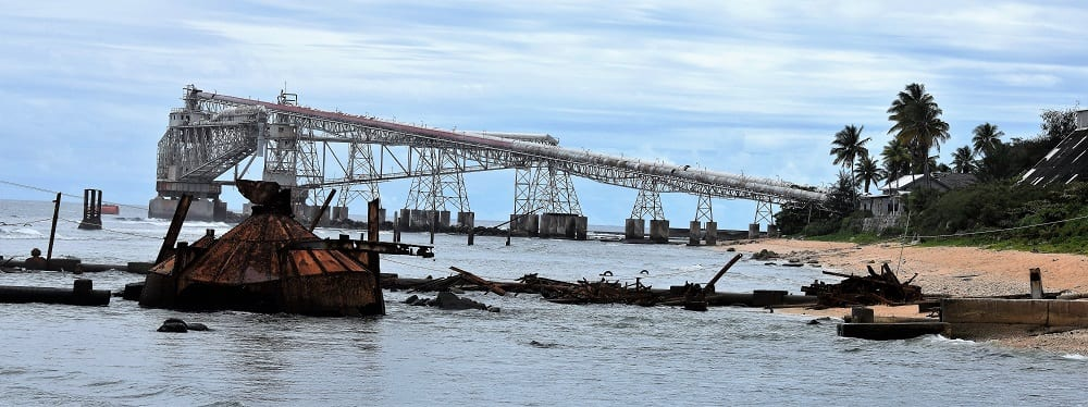 Old mining conveyor belts over the sea
