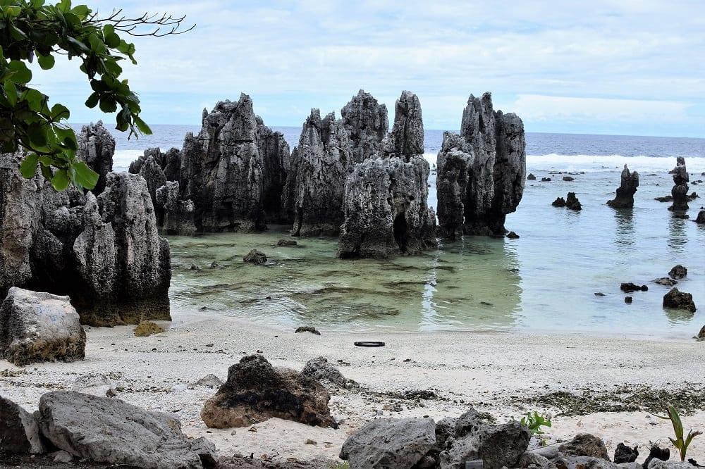 Tall pinnacles on the beach