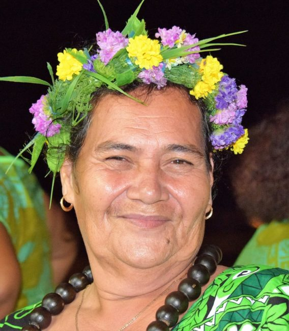 Portrait of a lady attired in a floral headdresses on Tuvalu