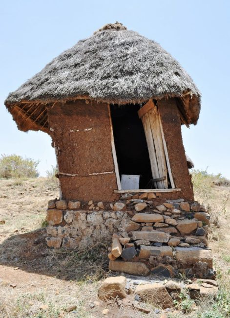 A thatched tilting long drop toilet in Ethiopia -