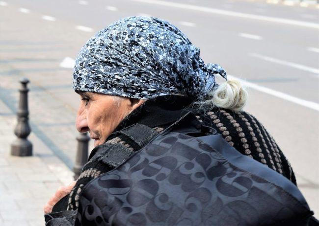 Profile of a Georgian lady wearing a headscarf