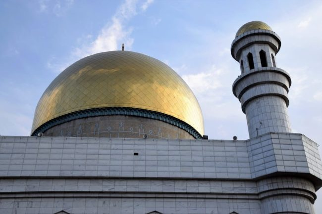 The gold dome of the Almaty Central Mosque