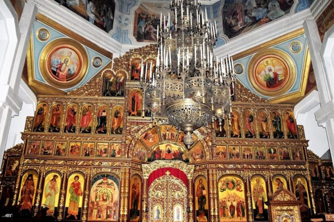 Icons and elaborate decoration on the altar of the Ascension Cathedral