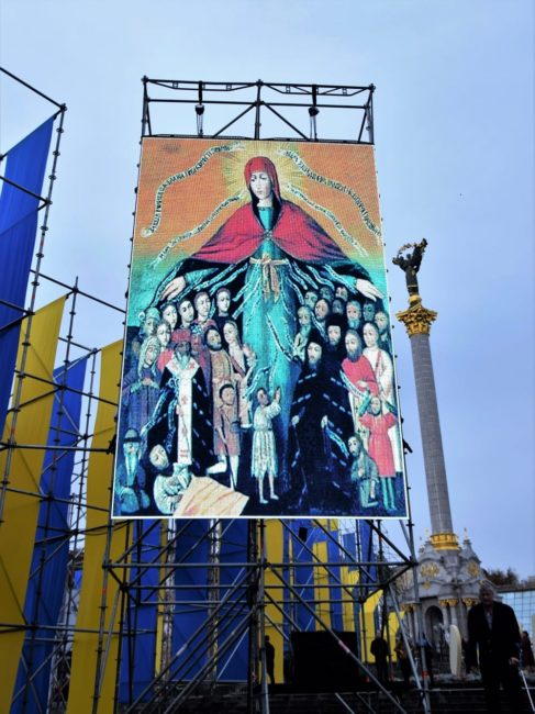 Religious themed banners at the street exhibition in Kiev