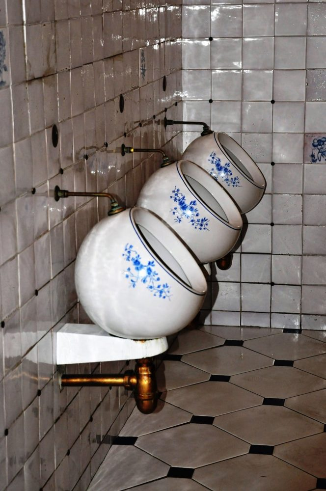 Blue flowers on white porcelain urinal bowls in Moscow