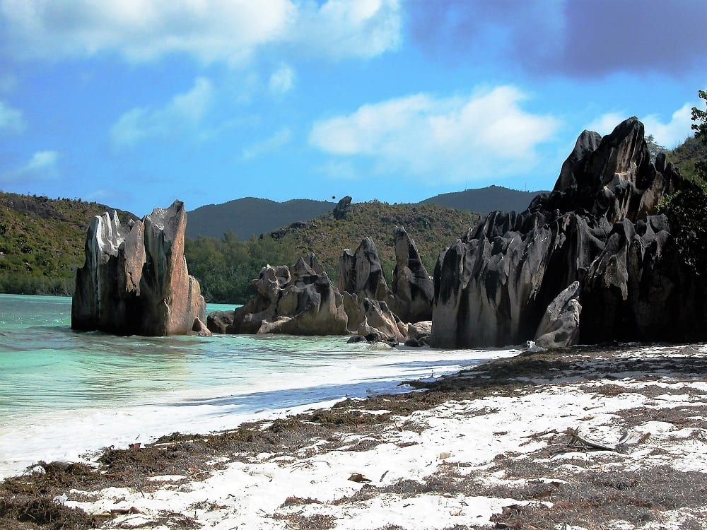 Jagged rock formations off Cousin Island, Seychelles