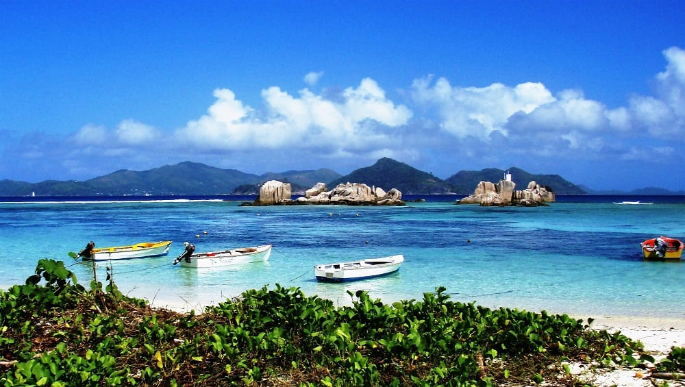 View across to Praslin from the beach at Anse Source D'Argent, La Digue
