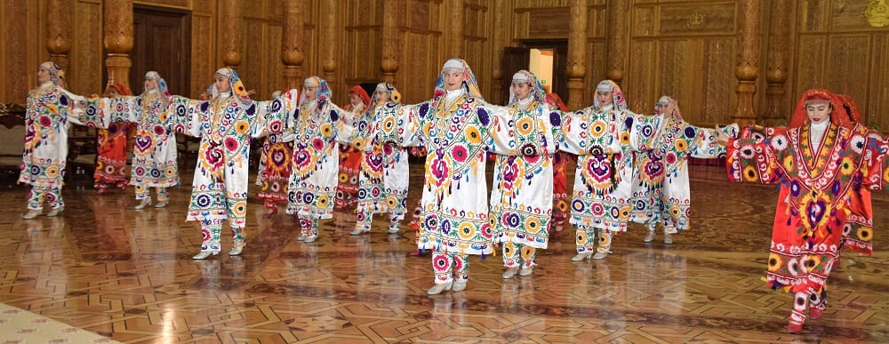 Costumed dancers at the Palace of Nations in Dushanbe