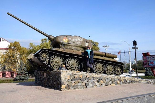 Sue beside a tank in Tiraspol Transnistria