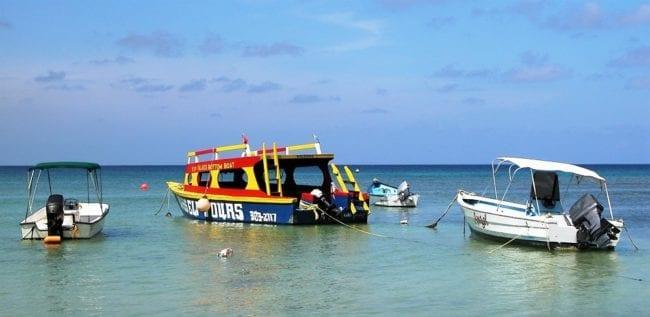 Motor boats bobbing on the water, Tobago