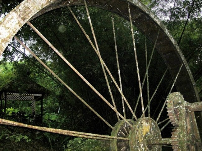 Close up of a giant wheel at an old rum factory