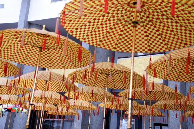 Red and yellow check parasols in the Royal Regalia Building at Bandar Seri Begawan