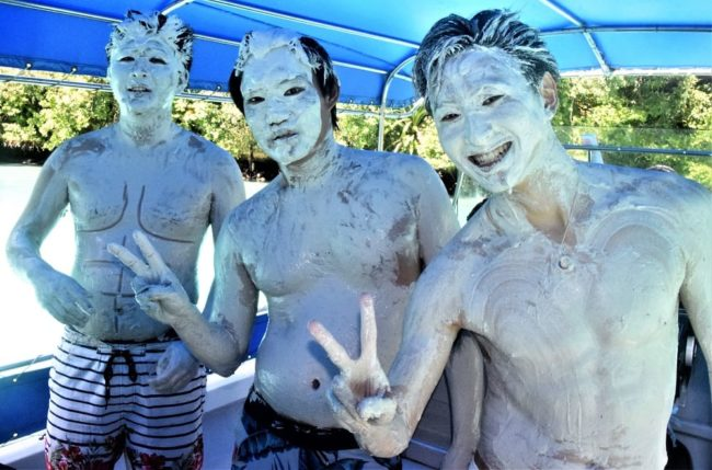 Palau Three Japanese tourists covered in mud