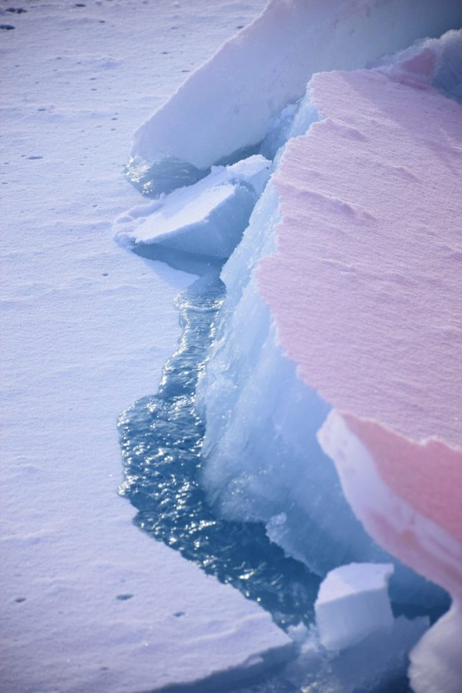 The cracking ice sheet above the sea, Greenland