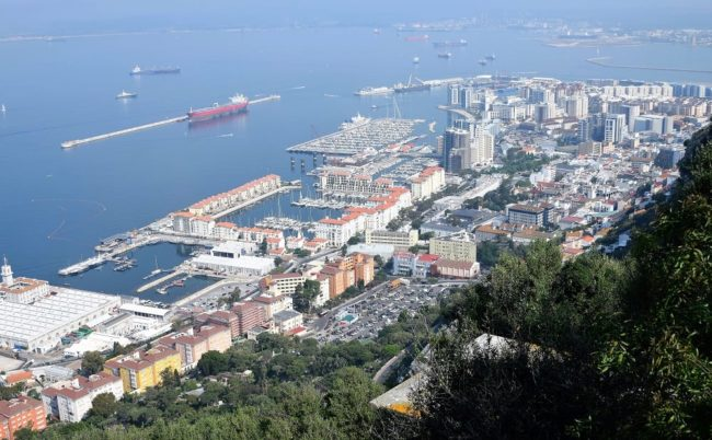 A view of Gibraltar town and harbour from the top of The Rock