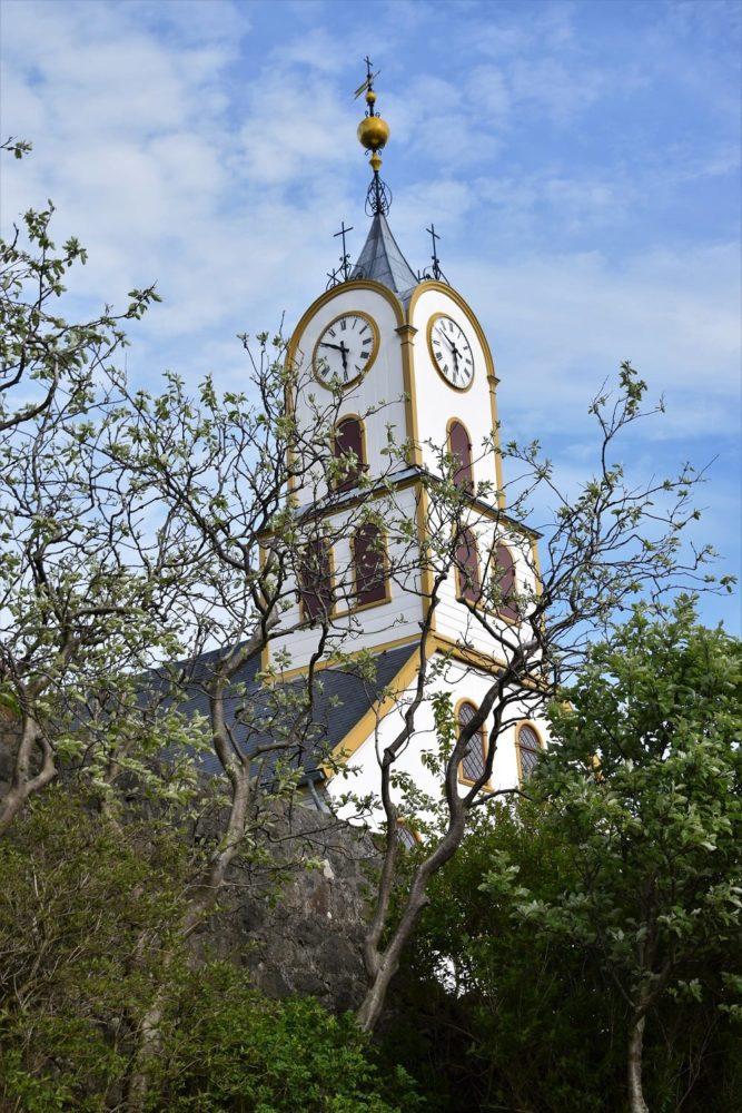 Curvy spire on a church clock tower, Torshavn