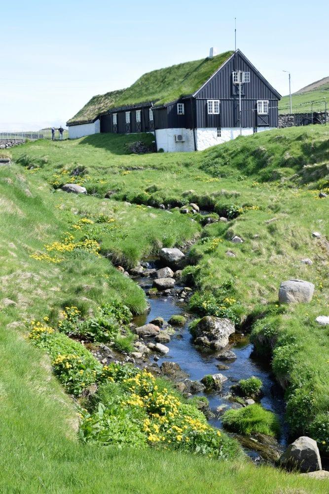 Green turf roofed houses above a stream, Faroe Islands