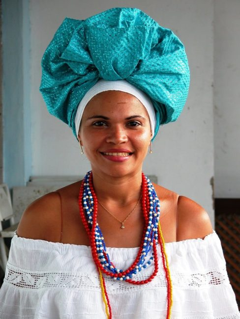 Portrait of young lady wearing traditional dress, Salvador