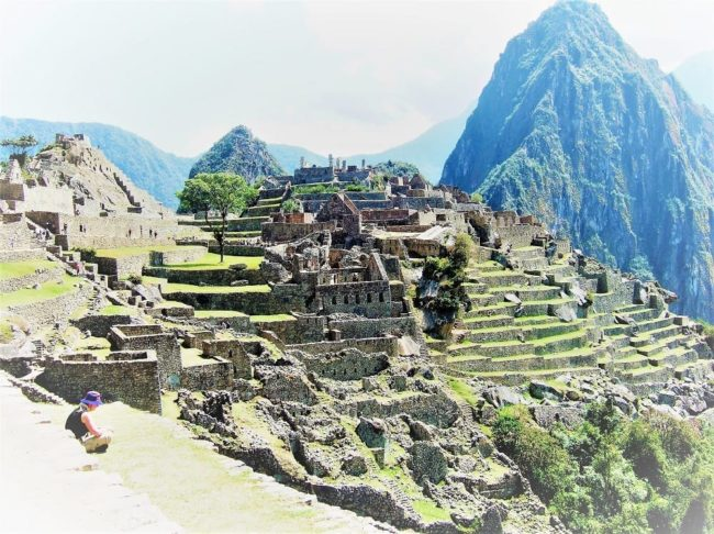 Panoramic view of the site of Machu Picchu, tall peak to the right