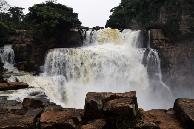 Water pouring down the main Zongo Falls, DRC